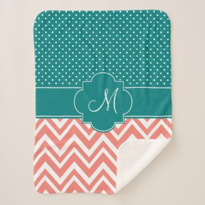 Monogram Coral Chevron with Teal Polka Dot Pattern Sherpa Blanket - diy individual customized design unique ideas
