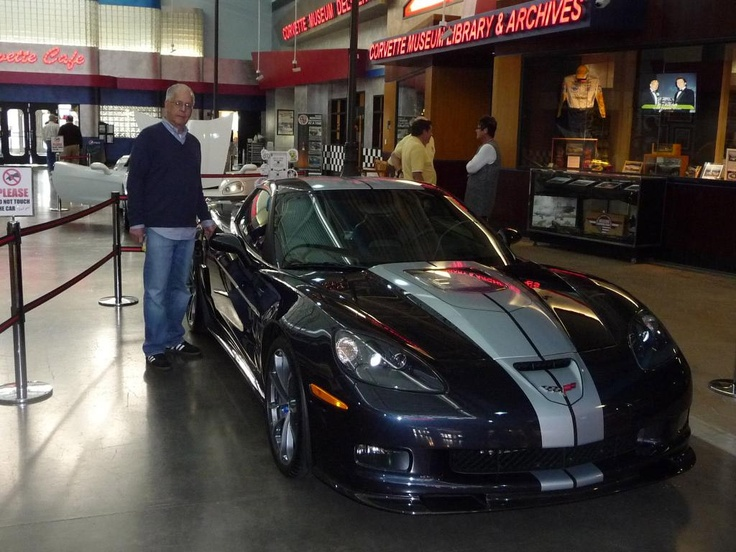 Longtime Corvette Museum supporter Harvey Gluck just picked up his 63rd Corvette and this one is a stunner. It's a 2013 Corvette ZR1 in Night Race Blue with a 60th Anniversary stripe running down the body. Harvey was presented with the ZR1 at the National Corvette Museum by Corvette Marketing Manager John Fitzpatrick.