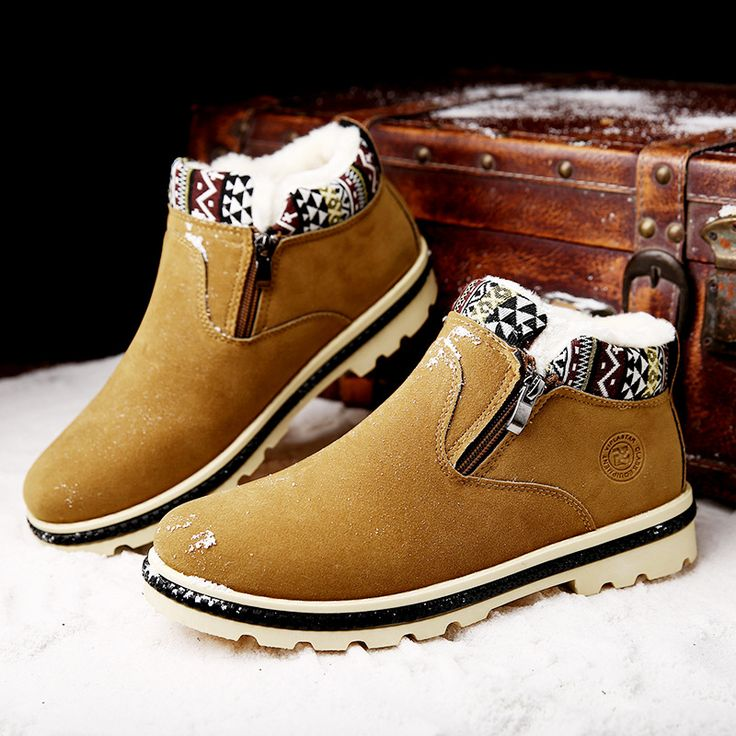 New Men Winter Print Boots for Men Snow Boots Flock High Top Zip Warm with Plush Men Shoes 3 Colors Snow Boots XM-29