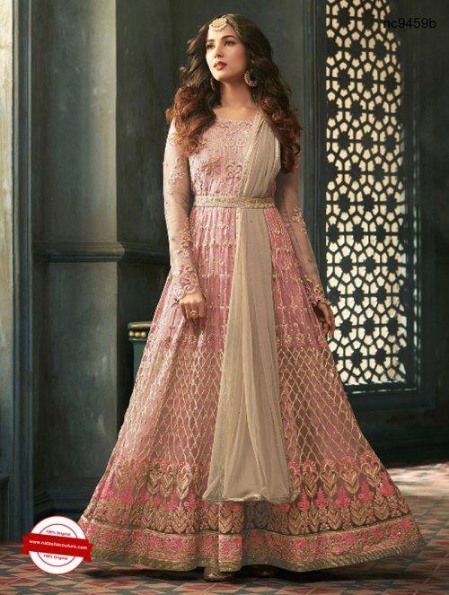5066323395 Pink Net Belt Style Anarkali Suit | Buy salwar kameez online shopping at  www.natashacouture