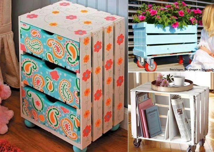 Caixa de Frutas - pintada: Home, Ideas, Wine Crates, For, Pallet, Fruit, Diy