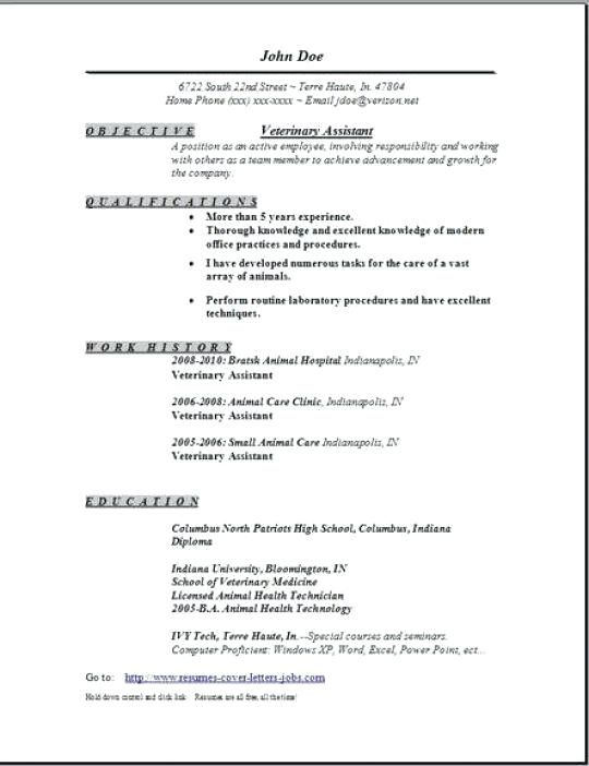 Veterinary Technician Resume Templates Pinterest Resume