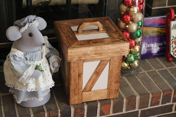Handmade wood bathroom trash can with lid