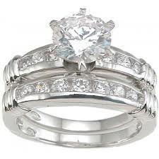brilliant with channel set silver cz wedding ring set kay jewelers - Kay Jewelers Wedding Rings Sets