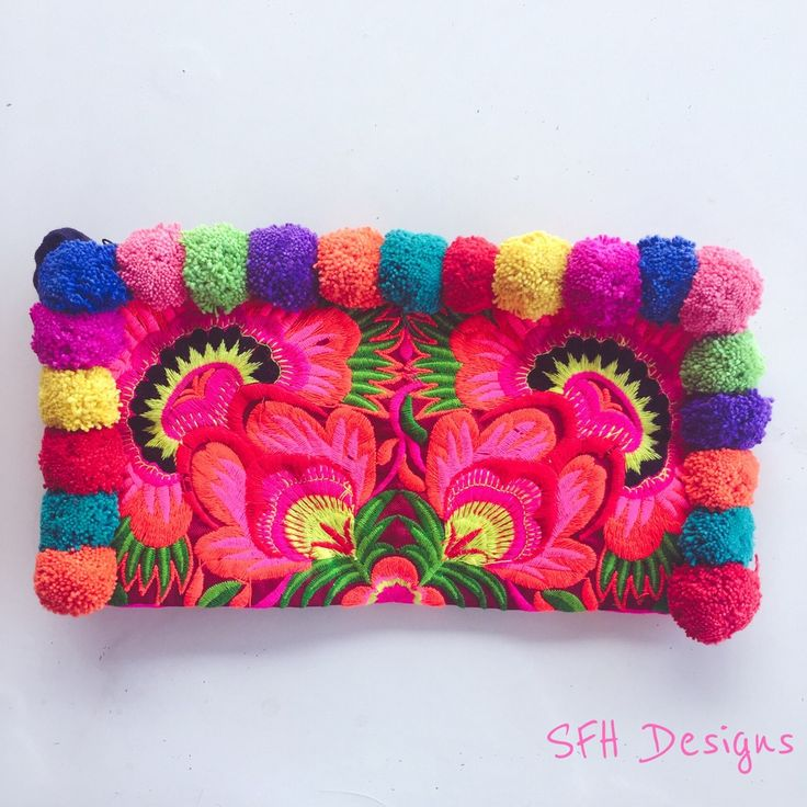Colourful Pom Pom Clutch - Pink Peacock / SFH Designs