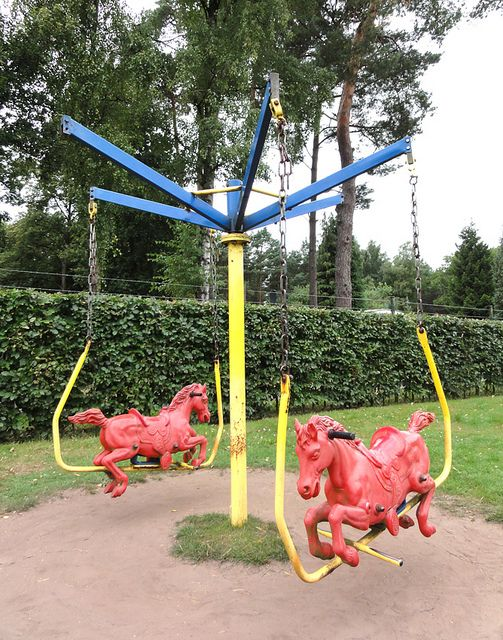 Vintage Dutch Playground Swing Merry Go Round With