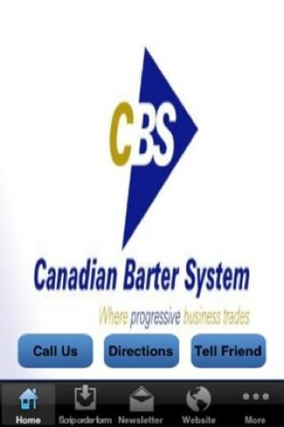 Canadian Barter System Mobile App<p>Canadian Barter System is happy to announce the launch of our new IPhone and Android app! Now you can instantly stay up to date with CBS and all the great products and companies available on trade and more!<p>Canadian Barter System, celebrating our 16th successful year, has grown to become Manitoba's largest and most established multi-directional trade exchange. We have built a solid reputation for our fair, creative and effective trading practices. Our…