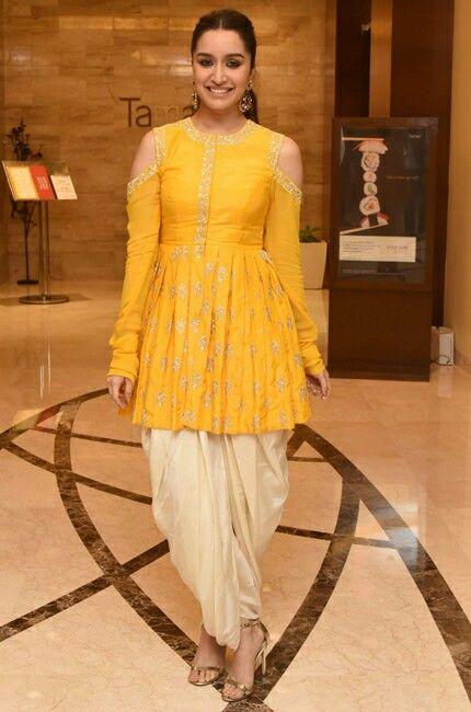 2a1e333626 2018 Indian Fashion: Shraddha Kapoor in a peplum style kurt and dhoti style  salwaar in mustard yellow and cream. #indianfashion #peplum #kurta #kurti  ...