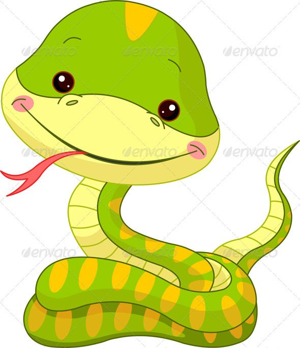 Fun zoo. Snake  #GraphicRiver         Fun zoo. Illustration of cute Snake…