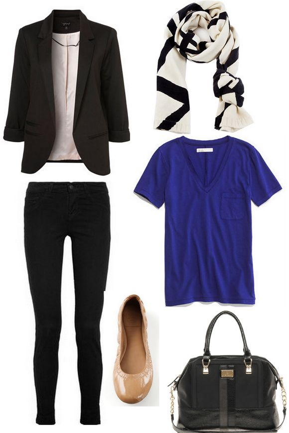 Casual blazer, black skinnies, cobalt blue t shirt.  Easy and pulled together.