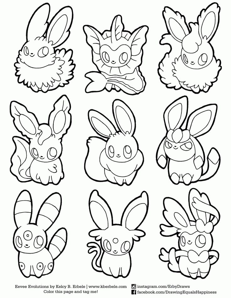 Chibi Pokemon Coloring Pages Eevee Evolutions Dibujos
