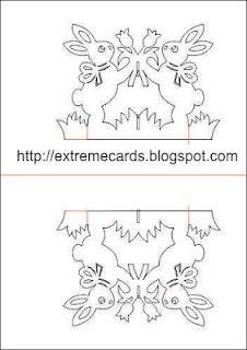 Dwa króliki z tulipanami - kartka kirigami