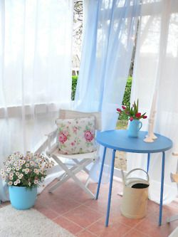 sheer curtains in the garden - for tea parties!