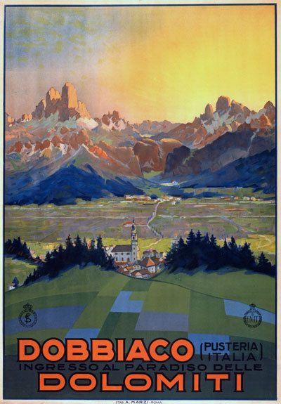 TX65 Vintage Italy Dobbiaco DolomitiItalian Travel Tourism Poster Re-Print A4