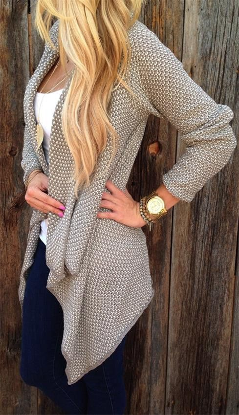 Really like the drape of this - and the jewelry doesn't hurt! Cardigan