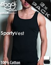 Sloggi Sporty Vest Αντρική Μαύρη Φανέλα με Τιράντα  (2 τεμάχια)