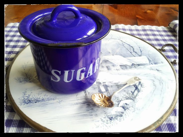 Vintage enamelware blue sugar storage jar or canister by PawhillTreasures on Etsy