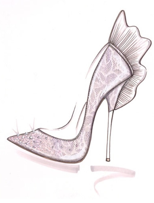 Glinda: Nicholas Kirkwood worked with Disney to create the Oz The Great and Powerful shoes for the good witch Glinda as shown in this sketch. #oz #glinda #shoes