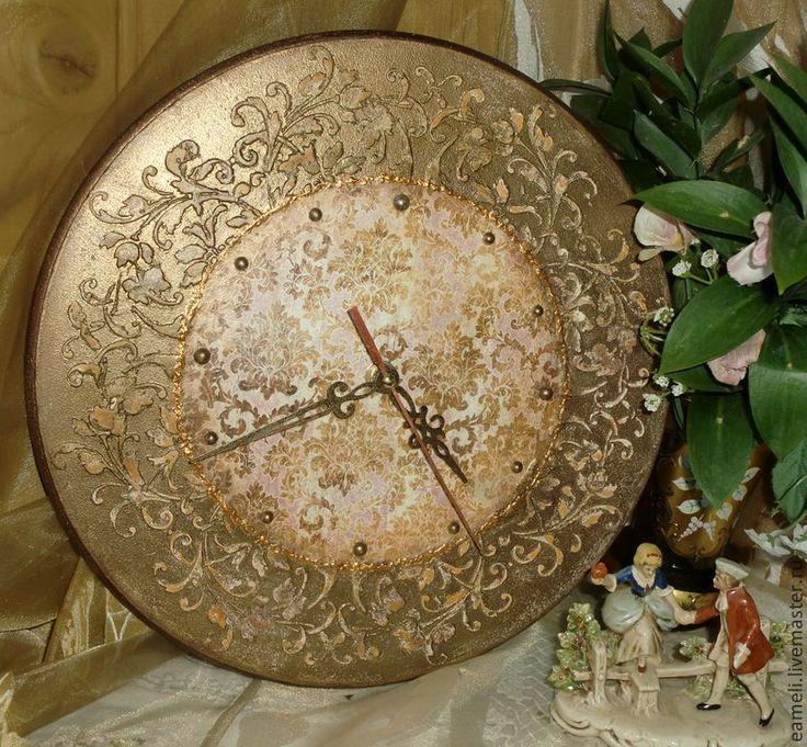 """Купить Часы""""Бронзовый век"""" - коричневый, часы, часы настенные, часы декупаж, часы для дома"""