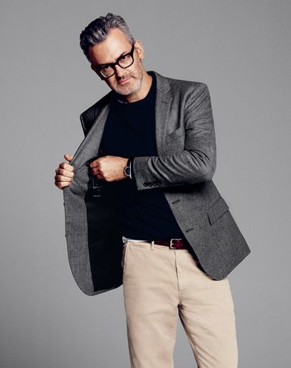 """""""The crewneck is typically sportswear, but we translated it into beautiful black cashmere. Not only did we pair something sporty with something dressy but we reinterpreted the item itself."""" The GQ Guide To Business Casual"""
