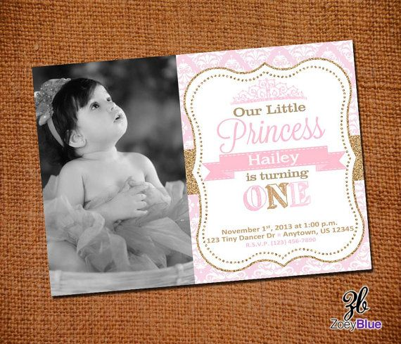 25 best ideas about First birthday invitations – Princess 1st Birthday Invitations