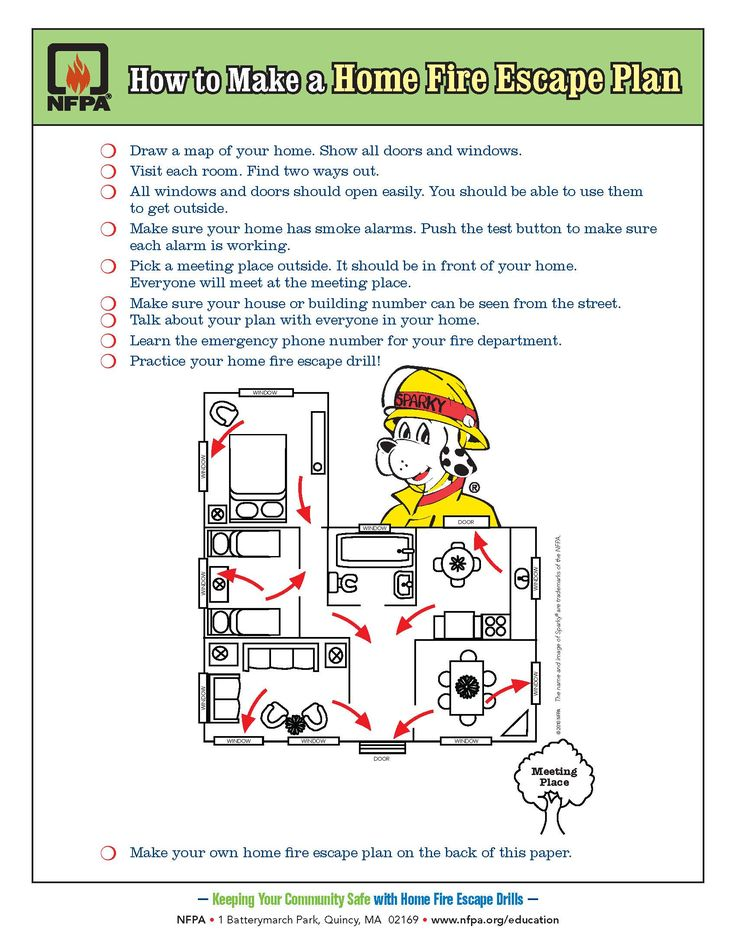 Draw a home fire escape plan. Your kids practice fire