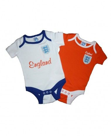 A pack of two England Football 2014 Baby Bodysuits. Ages 0-18m and only £11.99. #WorldCup #ComeOnEngland