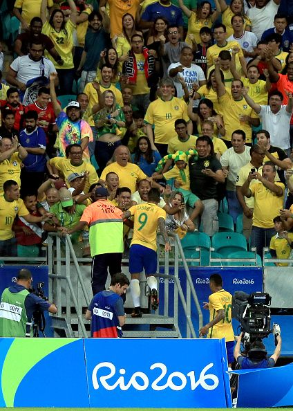 #RIO2016 Gabriel Barbosa of Brazil celebrates after scoring during the match Brazil v Denmark on Day 5 of the Rio 2016 Olympic Games at Arena Fonte Nova on...