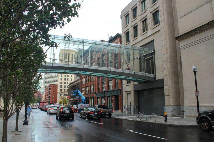 Elegant steelglass bridge at liberty mutual tower in