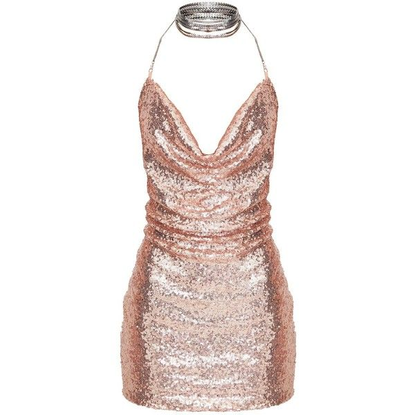 Tarria Rose Gold Sequin Chain Choker Mini Dress ($60) ❤ liked on Polyvore featuring dresses, sequin dress, sequin cocktail dresses, pink gold dress, short dresses and mini dress
