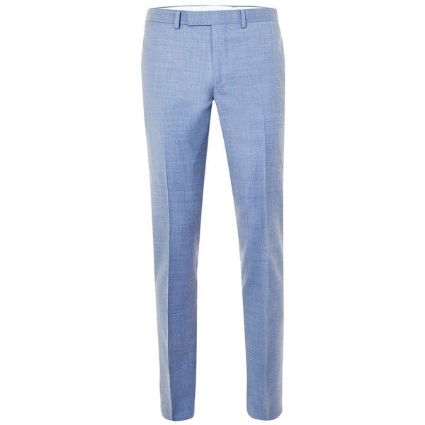 TOPMAN Limited Edition Light Blue Skinny Fit Suit Trousers (8710 DZD) ❤ liked on Polyvore featuring men's fashion, men's clothing, men's pants, men's dress pants, blue, mens blue pants, mens skinny pants, mens skinny dress pants, mens skinny fit dress pants and mens light blue dress pants