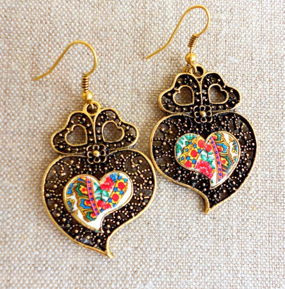 Portugal Viana Folklore Scarf Heart of Minho Earrings by Atrio,