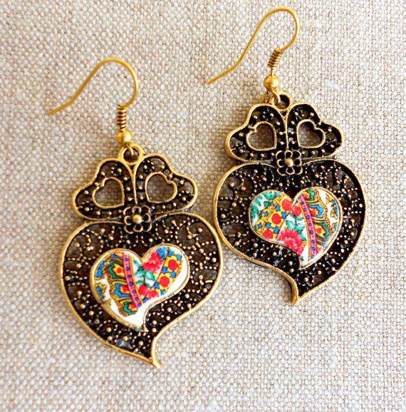 Portugal Viana Folklore Scarf Heart of Minho Earrings by Atrio,