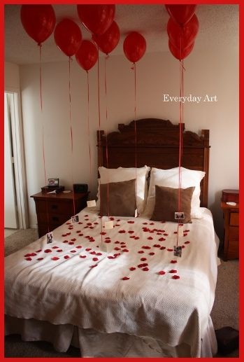 "Valentine's Day Idea: ""At the bottom of each balloon pit a picture of us from years past. Each picture was then glued to a piece of card stock with the balloon ribbon sandwiched in between. Then, on the back of the card stock, write a reason you love them. Hmmm..."