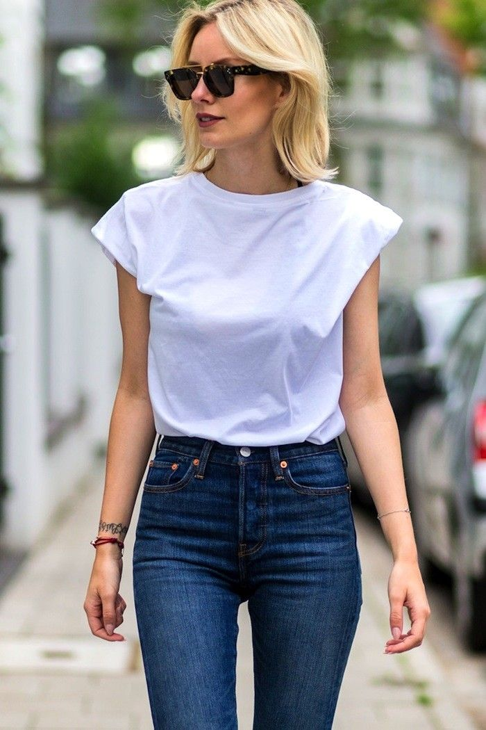 A Killer White Tee and Jeans Look to Try Now via @WhoWhatWearUK