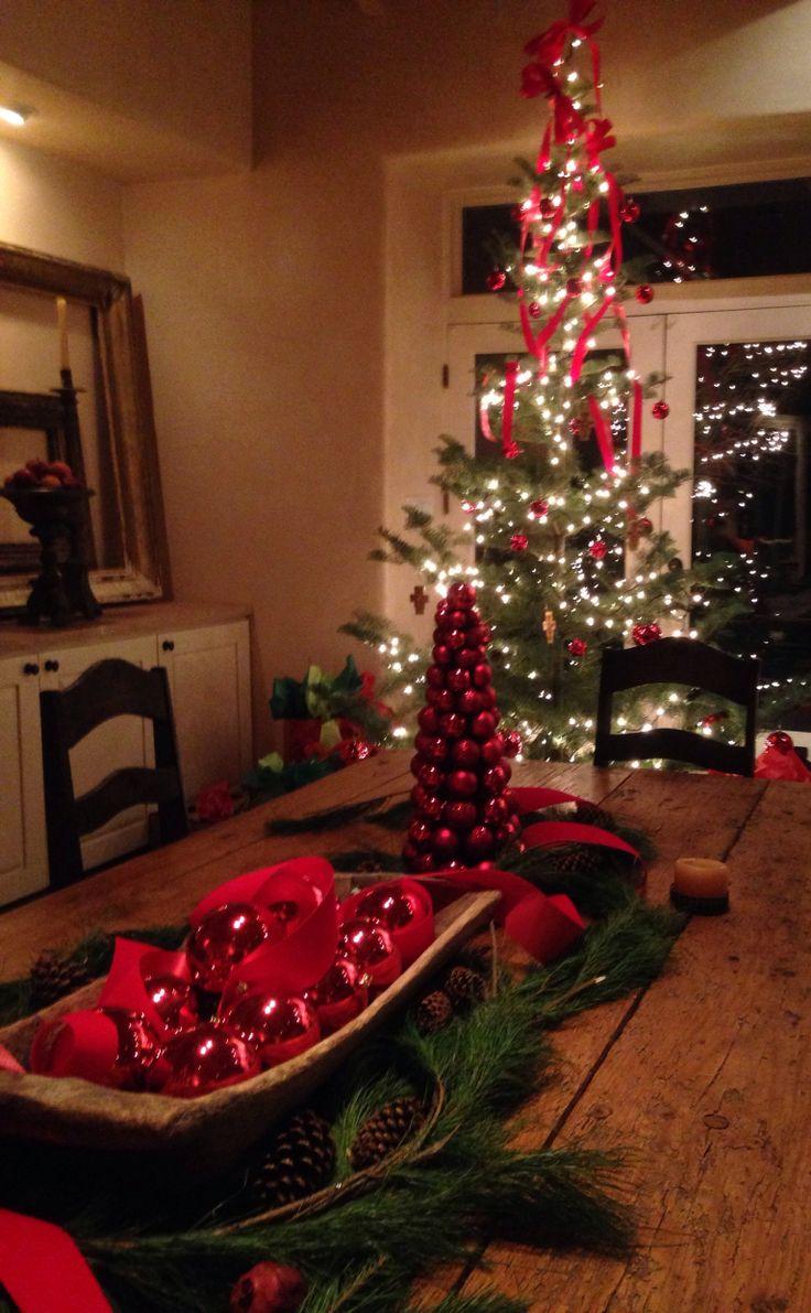 Red Christmas balls and fragrent fresh pine -Santa fe