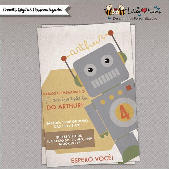 Convite Festa Robôs Vintage Digital