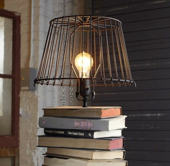 Use old books as a base. Just think long and hard about all the knowledge you are destroying! | 24 Clever DIY Ways To Light Your Home