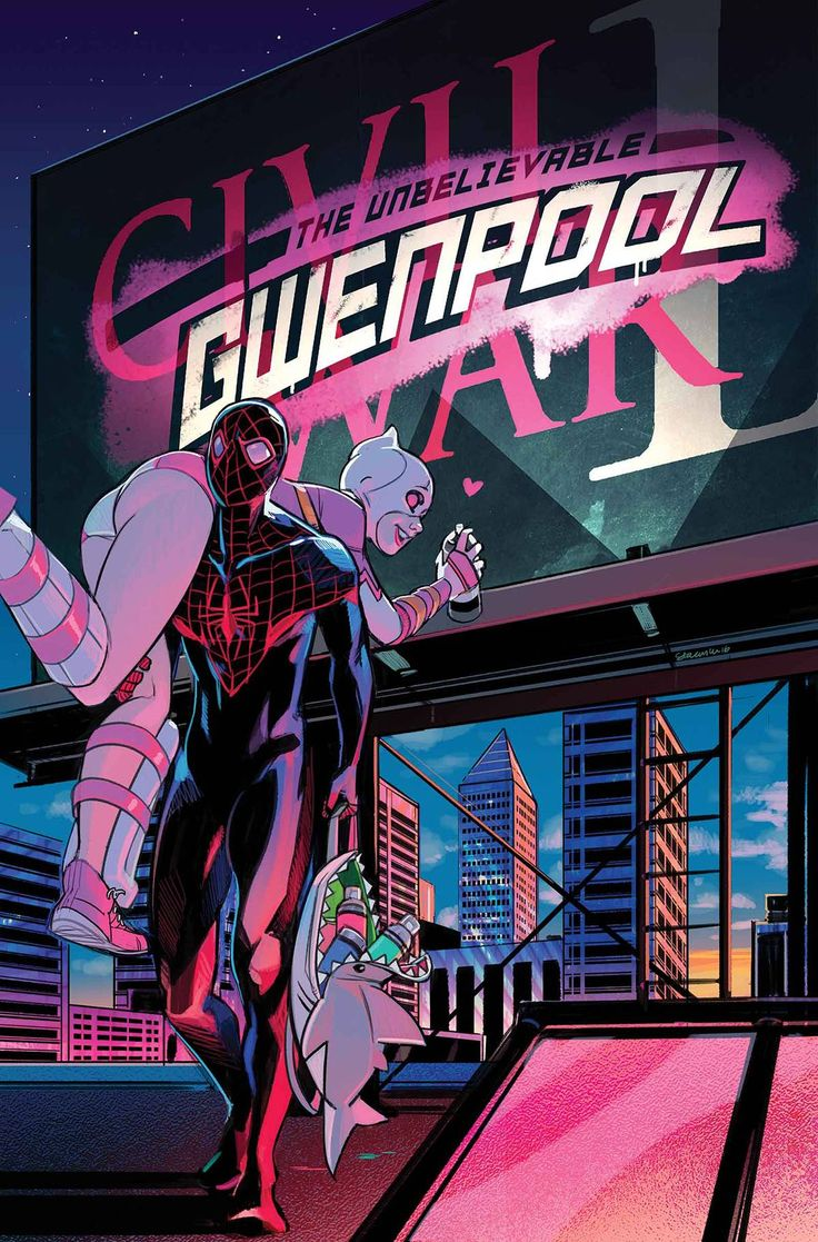 "draconian62: "" Gwenpool #6 • Gwen's ""team-up"" with Miles Morales ends…badly! • Man, oh, man, she is not a good person! It gets dark! • We promise this is not a Civil War II tie-in! "" this cover is adorable seriosuly"
