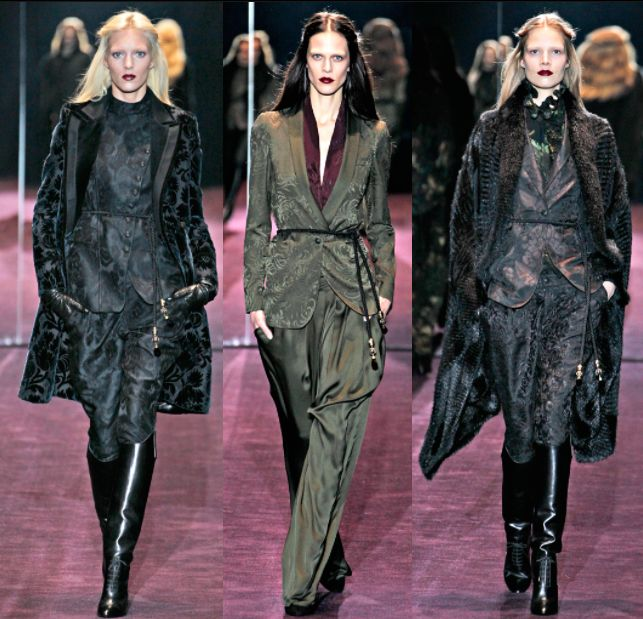 """Gucci Fall Winter 2012 was one of the most beautiful collection made by Frida Giannini. The 60s and 70s fashion gives way to the introspection of the """"poètes maudits"""", the sensitivity of Rimbaud and the colors of pre-Raphaelite women whose pale skin is wrapped in velvet, jacquard or damask robes, and the intense eyes are framed by long loose hair  and sensual lips red like fire."""