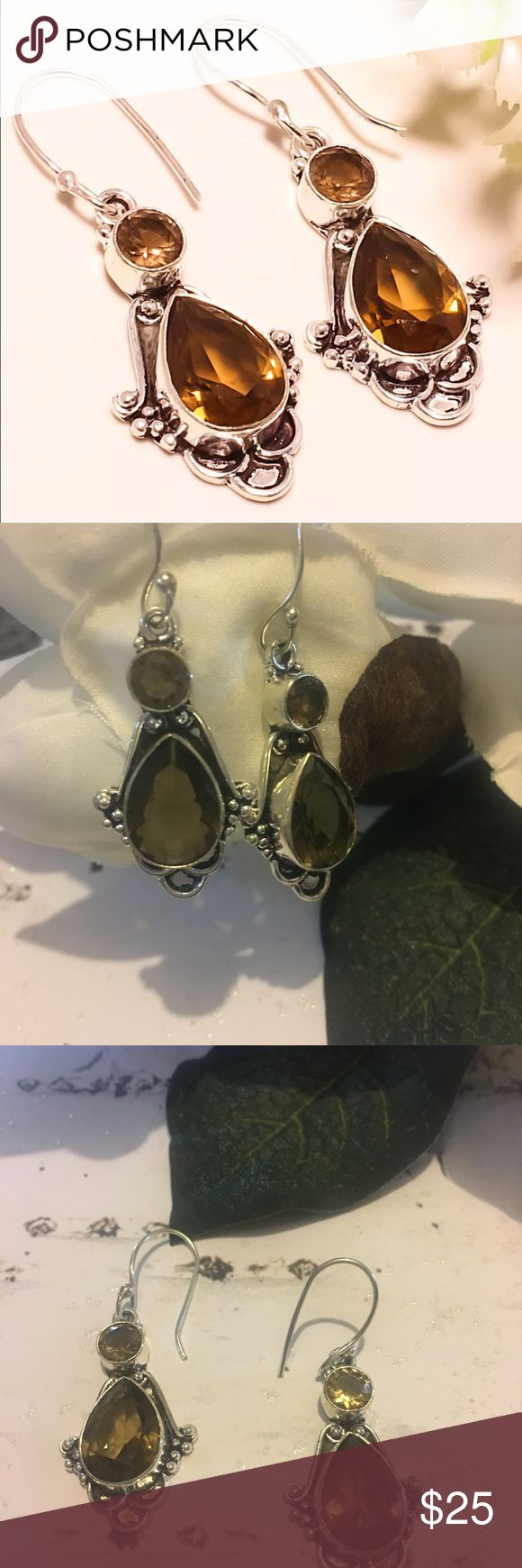 ⚜️Smoky Topaz Earrings⚜️ ⚜️Smoky Topaz Earrings⚜️ Stone of Balance helps to relieve emotional blockages while enhancing your perception and intuition⚜️925 stamped silver⚜️L 1.87 weight 8 gm⚜️Hook fastenings⚜️Measurements are approximate and colors may vary⚜️ Jewelry Earrings