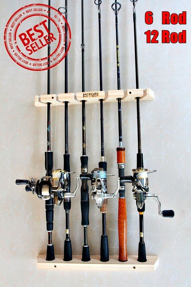 Fishing Rod Racks 6 Or 12 Storage Easy Wall Handmade Wood Sports Hunting Holder Fishing Rod Rack Rod Rack Fishing Rod Storage