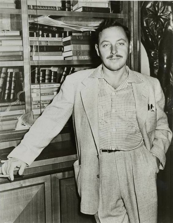 Photo of Tennessee Williams to promote 'Cat on a Hot Tin Roof',  ca. 1955,  Billy Rose Theatre Collection.