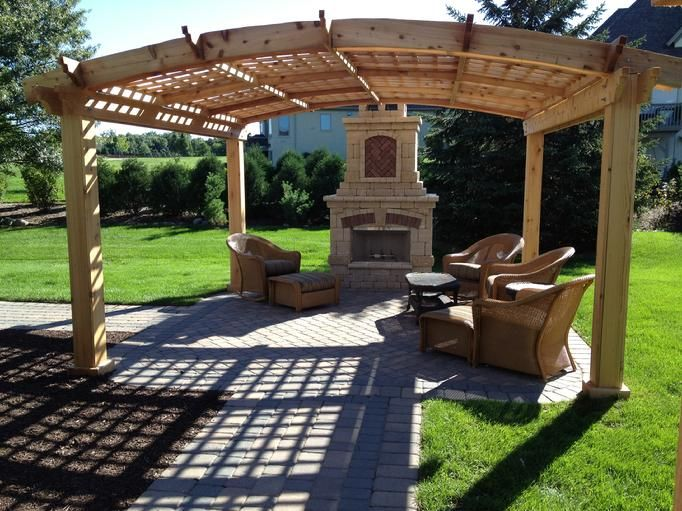 Best 25 curved pergola ideas on pinterest fire pit for Plans for gazebo with fireplace