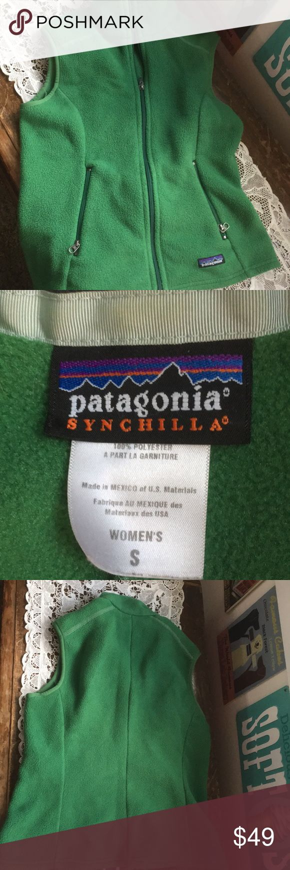 Patagonia fleece vest Kelly green slightly fitted vest .. excellent condition size small Patagonia Jackets & Coats Vests