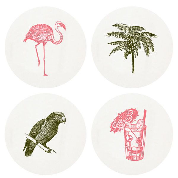 Haute Papier Letterpress 'Tropical' Coasters