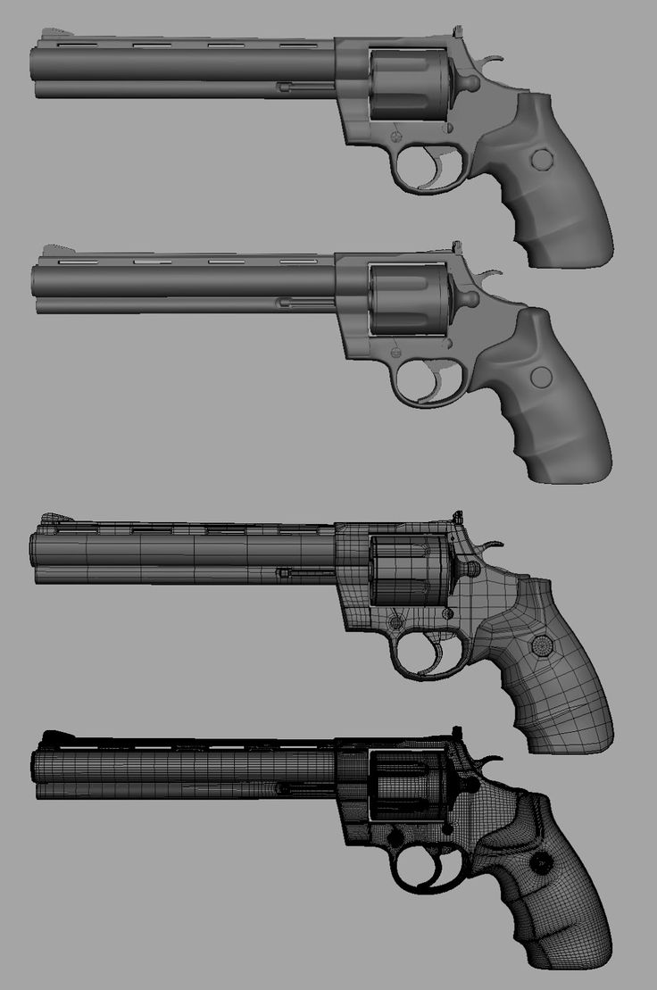 Wireframe for another gun. With different amounts of polygons.