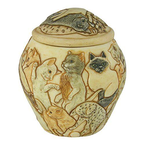 """Harmony Ball Jardinia cat urn for pet ashes up to 15 lbs """"Cats Galore"""" is a lidded cachepot, carved in the English Cotswolds by Monique Baldwin. The interior inscription reads, """"C'est quand le chat est repu qu'il dit que le derriere de la souris pue"""", which when... more details available at https://perfect-gifts.bestselleroutlets.com/gifts-for-pets/for-cats/product-review-for-harmony-ball-jardinia-cats-galore-cat-cachepot-a-beautiful-urn-for-pet-"""