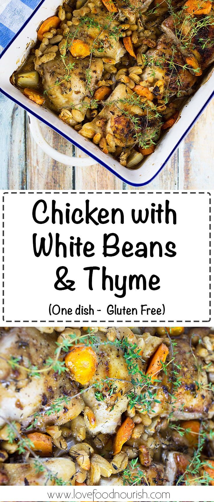 Chicken with White Beans and Thyme - A simple rustic one dish chicken meal that is full of flavour. #glutenfree #glutenfreedinner #onepan #dairyfree #chicken #chickendinner #onedishmeal #cleaneatingdinner
