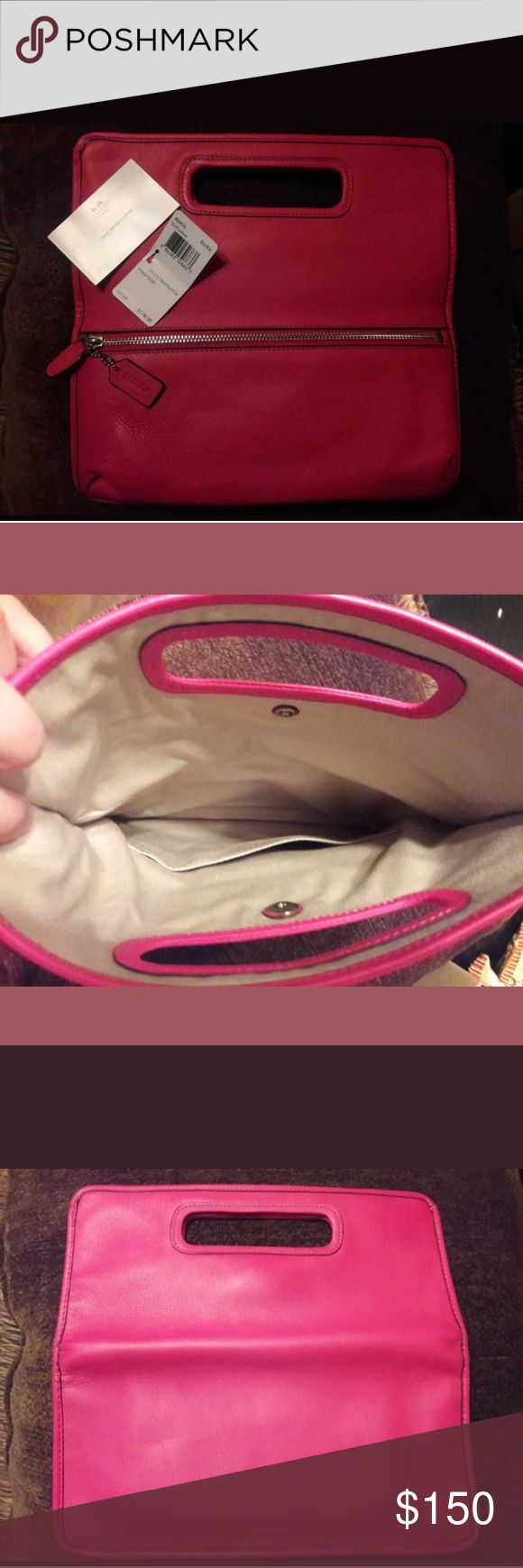 Coach Legacy Leather Fold Clutch Fuschia. New with tag. Coach Bags Clutches & Wristlets